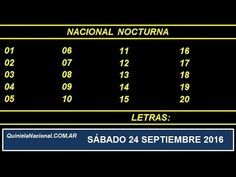 Video Quiniela Nacional Nocturna Sabado 24 de Septiembre de 2016 Pizarra del sorteo nocturno en el recinto de Loteria Nacional a las 21:00