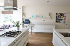 A semi detached 6 bedroom family home. Featuring a modern open plan kitchen looking out on to the garden. 1930s Semi, Kitchen Extensions, 1930s House, White Interiors, Open Plan Kitchen, Semi Detached, Kitchen Inspiration, Floors, Living Spaces