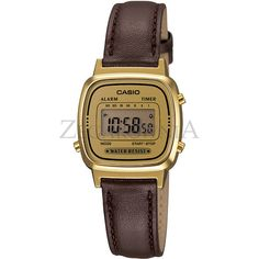This ladies digital watch from Casio has a gold square with a brown leather strap. Gold Watches Women, Vintage Watches Women, Ladies Watches, Casio Classic, Casio Vintage Watch, Casio Watch, Casio Gold, Casio Digital, Digital Watch