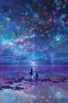 讓心,在陽光下學會舞蹈;讓靈魂,在痛苦中學會微笑。 - Ana Maria Villavicencio - Google+ Anime Play, Love Stars, Sky With Stars, Cellphone Wallpaper, Galaxy Wallpaper, Tumblr Wallpaper, Iphone Wallpaper, Star Ocean, Ocean Art