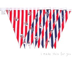 Items similar to Bunting Flags ~ Pennant Flags ~ Garland ~ Pirate ~ Red, White, Blue Stripes ~ Skull & Crossbones ~ Party Decoration / Children's Decor on Etsy Pennant Flags, Bunting, Pirate Skull, Flag Decor, Gifts For Boys, Stripes, Unique Jewelry, Handmade Gifts, Etsy