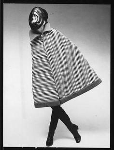 Pierre Cardin Vintage Coat - large juxtaposed panels of variegated stripes - zip-up knee length cape coat (+ space mask)