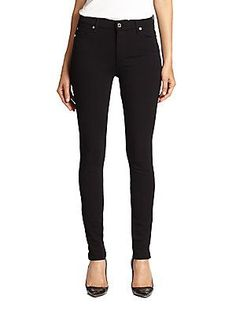 7 For All Mankind High-Waist Skinny Double-Knit Jeans - Black - Size