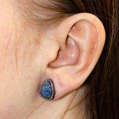 Opal Stud Earrings 14k Gold Sterling Silver Pave Diamond Gemstone BIRTHDAY GIFT #raj_jewels #Stud