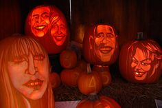Professional pumpkin carver Hugh McMahon carved jack-o'-lantern-style pumpkins to resemble various celebrities, along with the president and first lady, at the Old Navy event.
