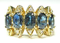 $588 Size: 9.75, approx 3 carats  Color: blue  Type: 10k yellow gold  Manufacturer: vintage estate    Approximately 6x 4mm or .60ct each sapphire stone totalling Approximately 3 carats   10 (ten) 1 mm diamond accent stones.  Ring tests 10k gold. 5.7 grams  size 9.75
