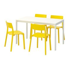 IKEA MELLTORP/JANINGE Table and 4 chairs White/yellow 125 cm The melamine table top is moisture resistant, stain resistant and easy to keep clean.