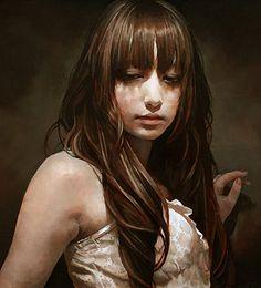 Artist: Takahiro Imai {contemporary figurative art female head brunette woman face portrait cropped painting}