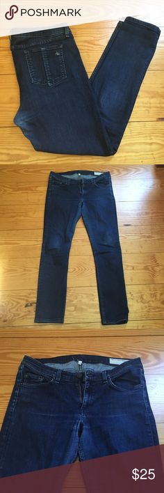 "Rag & Bone skinny jean ""Pencil leg"" skinny jean. 30"" inseam 98% cotton 2% polyurethane. Dark wash and stretchy fit. Minimal wear on the back and inner thigh inseams. True to size. rag & bone Jeans Skinny"