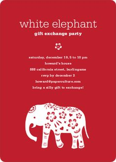 diy printable christmas party invitation  white elephant party, party invitations