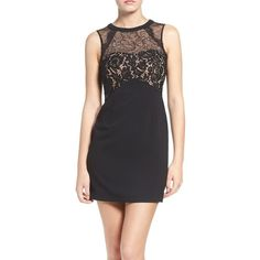 Women's Greylin Cynthia Lace Minidress ($148) ❤ liked on Polyvore featuring dresses, black, slim fit dress, slimming cocktail dresses, lacy dress, lace dress and slimming little black dress
