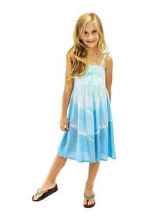 Tie Dye Blue Girls Summer Dress
