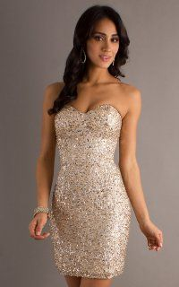 Stunning Sweetheart Neckline Sequin Short Dress