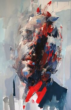 Ryan Hewett (South African, b. 1979), oil on canvas {contemporary #expressionist art male head grunge black man face painting drips #loveart #2good2btrue} ryanhewett.com