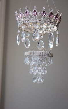 Items similar to Princess Mobile Girl's Nursery Pink Rhinestone Crystal Chandelier Blush Baby Bling Diva Vintage Sparkly Whimsical Queen Crown Crib Couture on Etsy Baby Bling, Diy Chandelier, Chandeliers, Chandelier Crystals, Princess Room, Little Girl Rooms, Girl Nursery, Crystal Rhinestone, Decoration