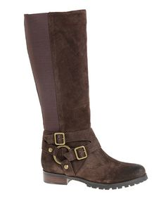 Take a look at this Chocolate Eagles Suede Stretch-Back Boot on zulily today!