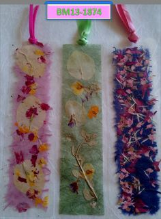 3 Artistic  lamination coated bookmarks with pressed flowers and dried plants. great gift & collectable BM13-1874 by TZIPIPA on Etsy