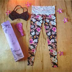 6e4b41890f Lace Waist Flower Yoga Leggings Workout pants Hawaiian womens sustainable  lifestyle flare dance (68.00 USD