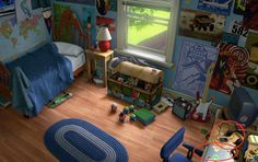 Pixar Fan Recreated Andy's Room From Toy Story Toy Story 3, Toy Story Andy, Sims 4, Ipod, Andys Room, Kids Inspire, Cartoon Background, Workspace Design, Toy Rooms