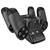 #10: PECHAM DualShock 4 Dual Charger Dock Mini PS4 Controller Charging Station With LED Indicator Black