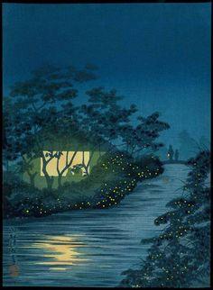 Kobayashi Kiyochika (小林 清親, 1847-1915), Fireflies on the Kinu River (Color woodblock print, Published c. 1930 by the Shima Art Company)