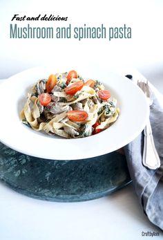 ✄ FAST MUSHROOMS AND SPINACH PASTA #DIY #pasta #recipe #vegeterian #food Stuffed Mushrooms, Cream Pasta, Mushroom Pasta, Spinach Pasta, Diy Food, Pasta Dishes, Bon Appetit, Pasta Recipes
