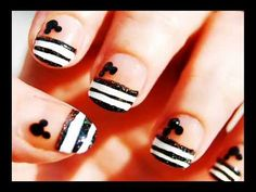 Mickey Mouse French Tip Nails Tutorial.