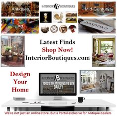 The team at InteriorBoutiques.com Seek to fulfil your design dreams by giving you a database of #Antiques #MidCentury #Design & #Art