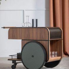 Discover the selection M.M of , a Swedish designer based in London. Deco Design, Wood Design, Table Furniture, Furniture Design, Bar Trolley, Coffee Carts, Metal Shelves, Shelf Design, Furniture Inspiration