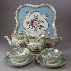 Antique Jacob Petit Fontainebleau France Porcelain Cabaret Tea Set