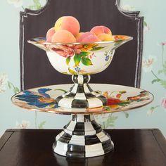 MacKenzie-Childs | Flower Market Pedestal Platter - White