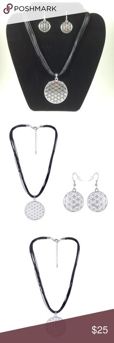 Flower of Life 🌎 Sacred Geometry Necklace Set Creation Pattern of EVERYTHING in life.  💖 Silver plated alloy  💖 Wax cord Handmade Jewelry Necklaces
