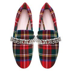 Christopher Kane Shoes Red Tartan Chain Loafer (31.660 RUB) ❤ liked on Polyvore featuring shoes, loafers, red low heel shoes, wool shoes, slip on shoes, slip-on shoes and slip-on loafers