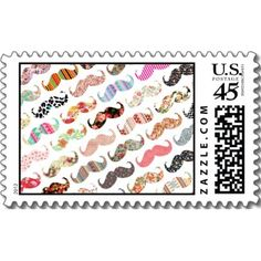 Funny Girly  Colorful Patterns Mustaches Stamps