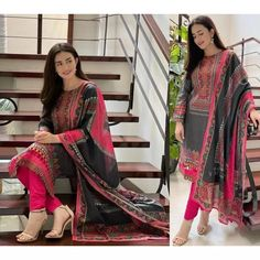 Black rayon cotton digital printed work salwar suit Salwar Suits, Suits You, One Size Fits All, Digital Prints, Sari, Cotton, Printed, Black, Tops