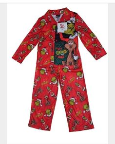 Dr. Seuss The Grinch Pajama 2 Piece Set Size 4 Or 8 100% Polyester Fleece NWT