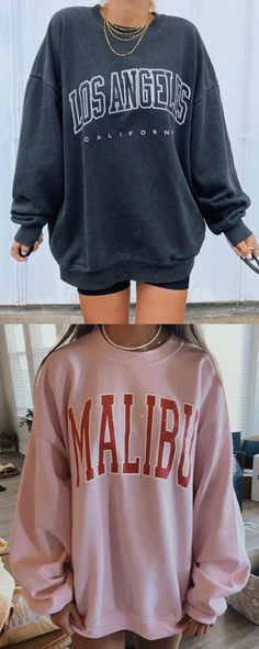 Casual Style Sweatershirts For Female Cute Summer Outfits, Cute Casual Outfits, Fall Outfits, Fashion Outfits, Retro Outfits, Vintage Outfits, Cute Sweatshirts, Sweat Shirt, Aesthetic Clothes