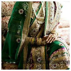 Gorgeous work on a green khada dupatta