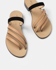 The Capriana Natural/Black Shoes Flats Sandals, Slipper Sandals, Shoe Boots, Flat Shoes, Sandals Outfit, Black Sandals, Fashion Slippers, Fashion Sandals, Leather Slippers