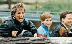 Pictured here in 1993, Diana always had a fun time with her sons on the Loggers Leap ride at Thorpe Park.
