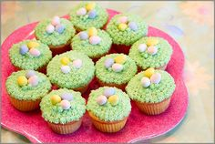 Lol I made these this year without ever having seen this, only with white cake mix, pink lemonaid frosting, and coconut flavored speckled egg shaped easter m