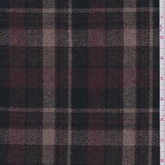 Burgundy Plaid Jacketing - Discount Fabrics
