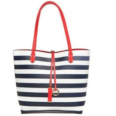 New Directions Navy Stripe Reversible Medium Tote ($41) ❤ liked on Polyvore featuring bags, handbags, tote bags, navy, white purse, striped tote bag, navy tote, gold tote bag and handbag tote
