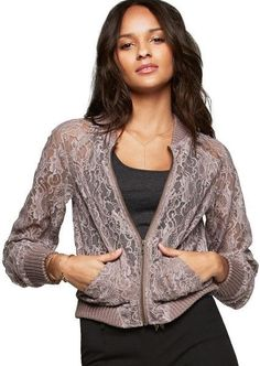 VICTORIA S SECRET Lacie Bomber Jacket Smoky Violet Large NWT  $108