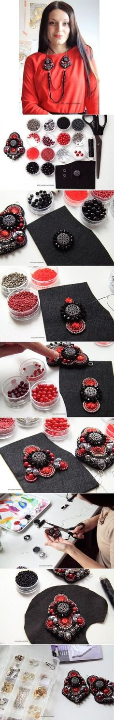 DIY Passion of Carmen Necklace.a cool way to make our own necklace! Soutache Jewelry, Beaded Jewelry, Handmade Jewelry, Bead Embroidery Tutorial, Beaded Embroidery, Beaded Appliques, Embroidery Ideas, Diy Schmuck, Schmuck Design