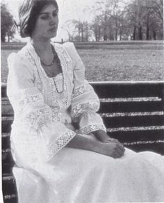 1971 - Laura Ashley dress photo print ad long white dress at park bench lace black and white photo magazine catalogue 70s