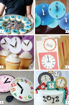 New Year's Eve clock ideas. I like that clock cake for a tea party. Family New Years Eve, New Years Eve Day, New Years Party, New Year's Eve Crafts, Holiday Crafts, Holiday Fun, Holiday Ideas, New Year's Eve Celebrations, New Year Celebration