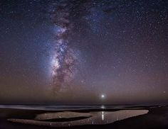 Milky way and Venus reflected in a tide pool in southern Baja California Mexico  Photo Credit : Kamal Schramm Rodriguez