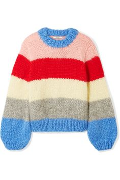 GANNI | Julliard striped mohair and wool-blend sweater | NET-A-PORTER.COM