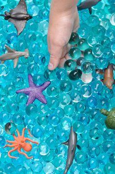 Fun Kids Summer Party + Ocean Sensory Bin Ocean sensory bin with water beads tutorial Water Birthday, Moana Birthday Party, Mermaid Birthday, 4th Birthday, Pirate Birthday, Birthday Ideas, Birthday Parties, Mermaid Party Games, Mermaid Parties